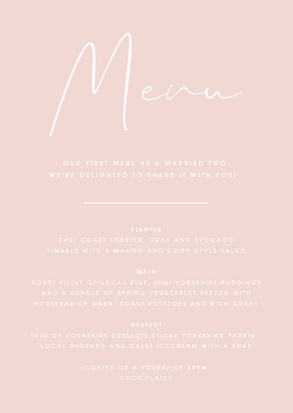 Pink Personalised Menu