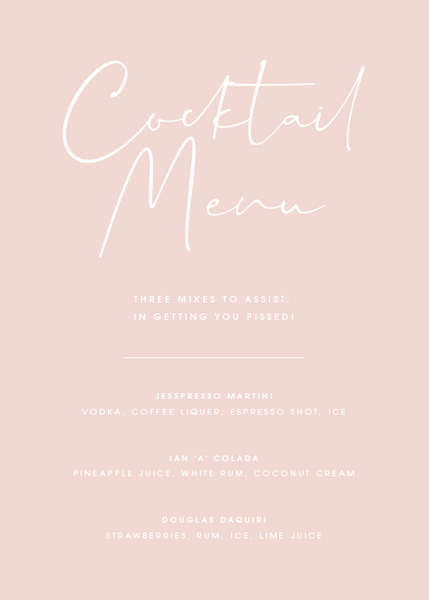 Pink Personalised Cocktail Menu