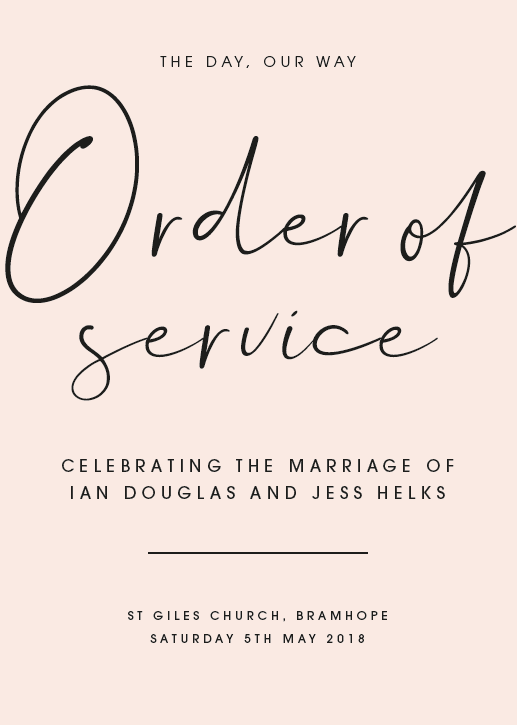 Blush Personalised Order of Service