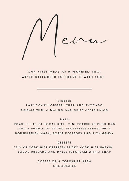 Blush Personalised Menu