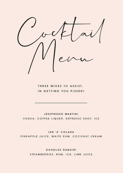 Blush Personalised Cocktail Menu