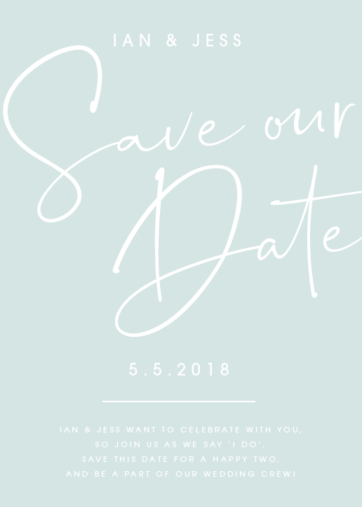 Mint Personalised Save the Date