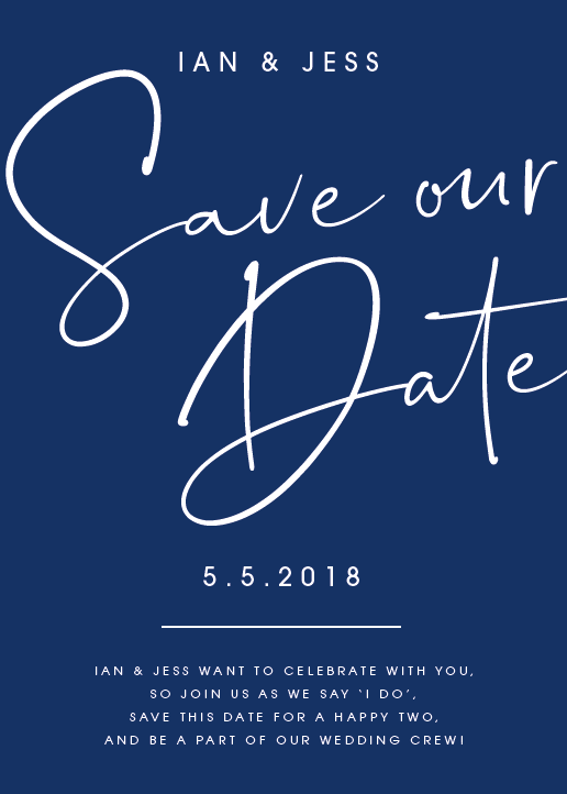 Navy Personalised Save the Date
