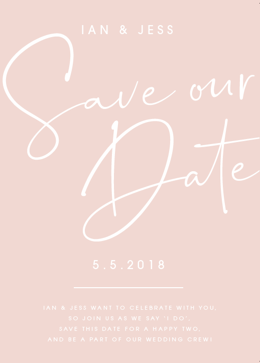 Pink Personalised Save the Date