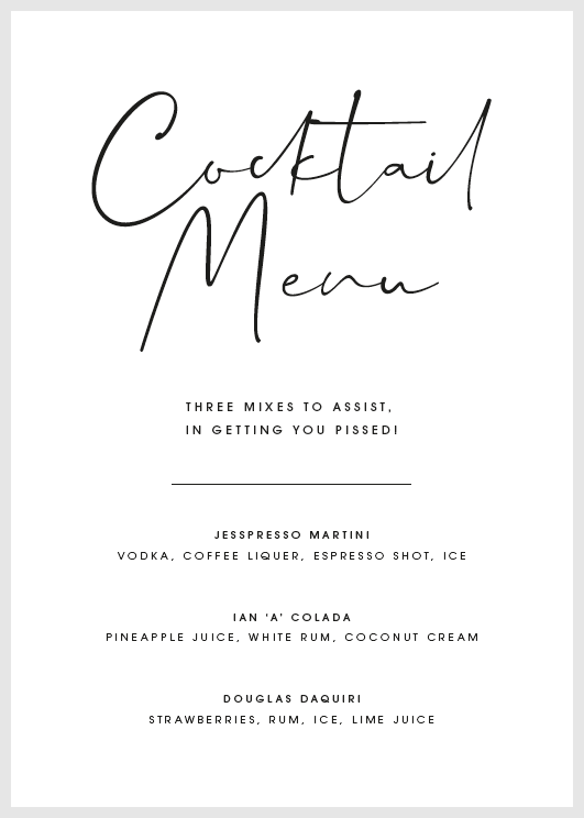 White Personalised Cocktail Menu