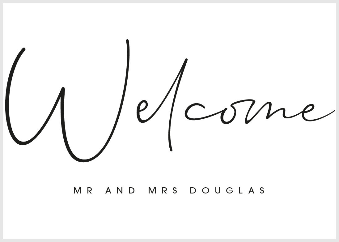White Personalised Welcome Sign