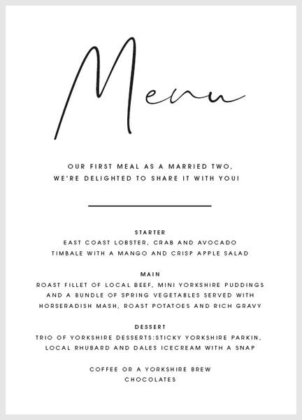 White Personalised Menu