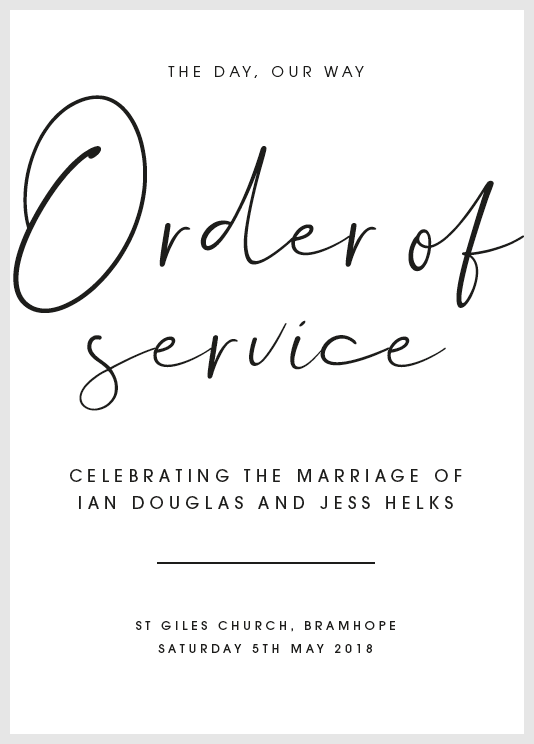 White Personalised Order of Service