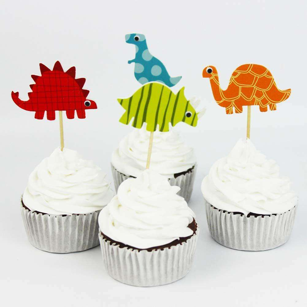 24pcs Dinosaur Party Supplies Cartoon Cupcake Toppers Pick Kid Boy Birthday Decorations