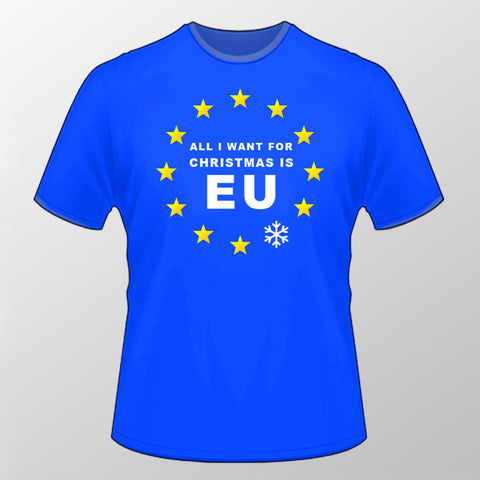 All I Want For Christmas is EU T Shirt (Chrome Silver Snowflake)