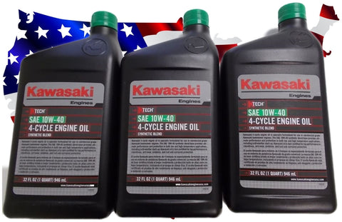 Pak of 3 Kawasaki K-Tech SAE 10W-40 Engine Oil Quart # 99969-6296