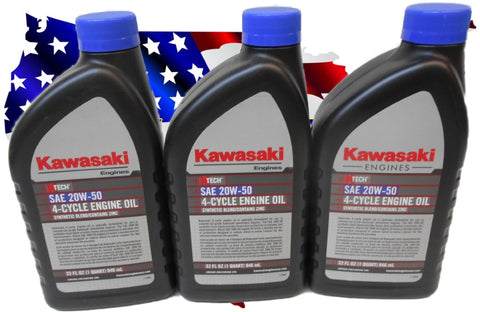 3 Quarts of Kawasaki K-Tech SAE 20W-50 Engine Oil Quart #99969-6298