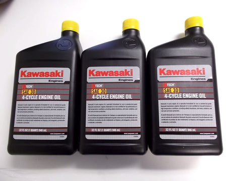 3 quarts KAWASAKI 4-CYCLE ENGINE OIL,3 - 1 QT PLASTIC BOTTLES, 99969-6281, 30wt