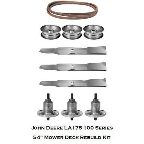 "54"" Mower Deck Rebuild Kit Fits John Deere LA175 100 Series Blades Spindles, GY21099,GY20684 ,GX21395 ,GY20629,GY20684 GY20684"