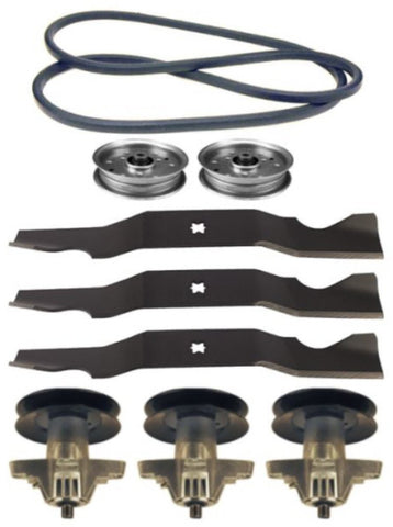 "Cub Cadet LT1050 50"" Mower Deck Parts Rebuild Kit Spindle Assemblies Blades Belt Idler Pulleys"