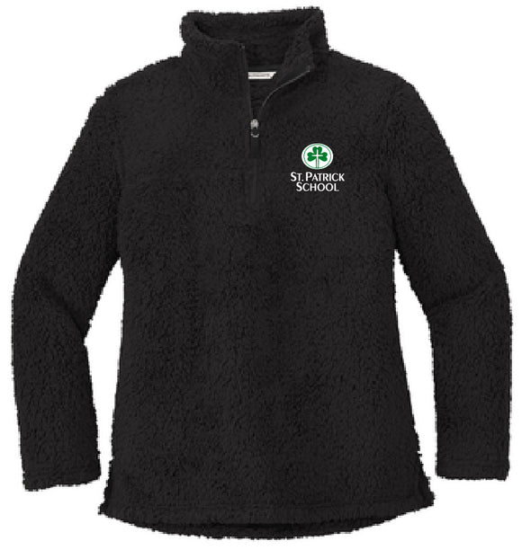 St. Patrick school embroidered sherpa 1/4 zip - ladies fit
