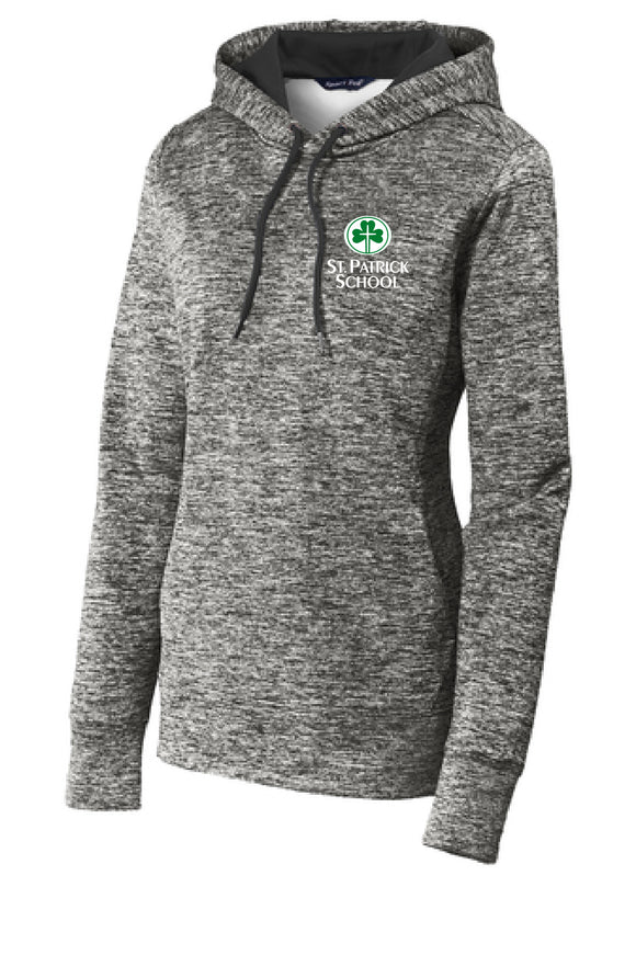 St. Patrick school heather ladies fit performance hoodie
