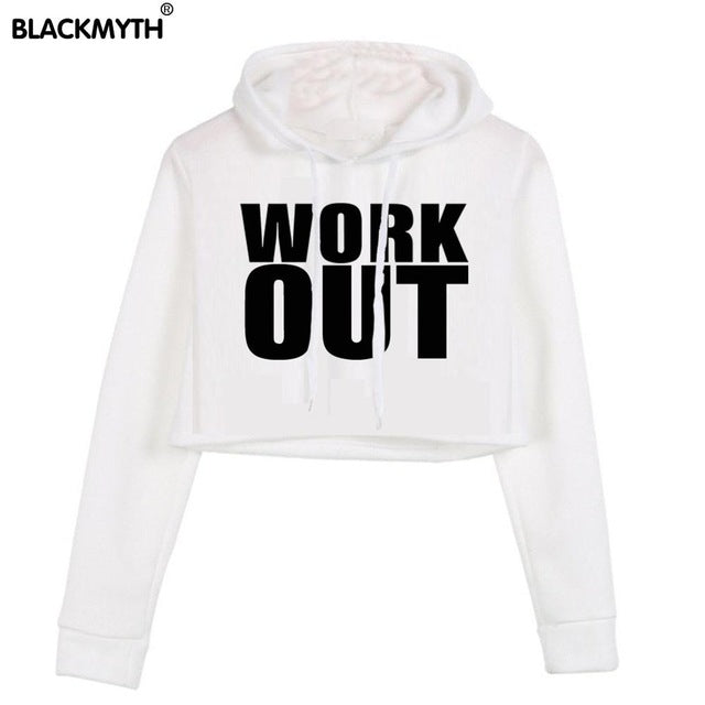 WORK OUT Pullover Black White Crop Top Hoodie Sweatshirts