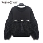 New! Women's Hoodie Sweatshirt Thickened Fur Spliced With Rhinestone