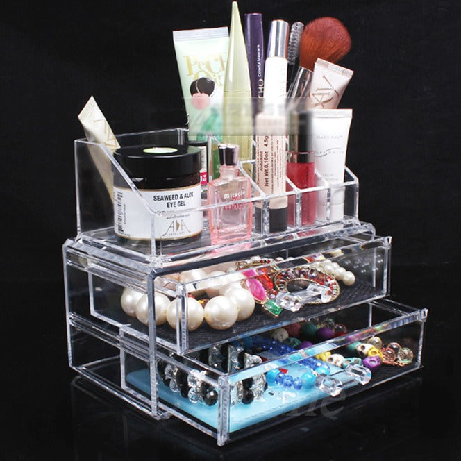 New Arrive Clear Acrylic Cosmetic Makeup Organizer 3 Drawer Storage Jewelry Box