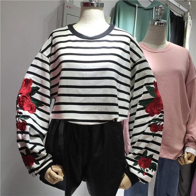 Roses Embroidery Lantern Sleeve Loose Striped Women Sweatshirt