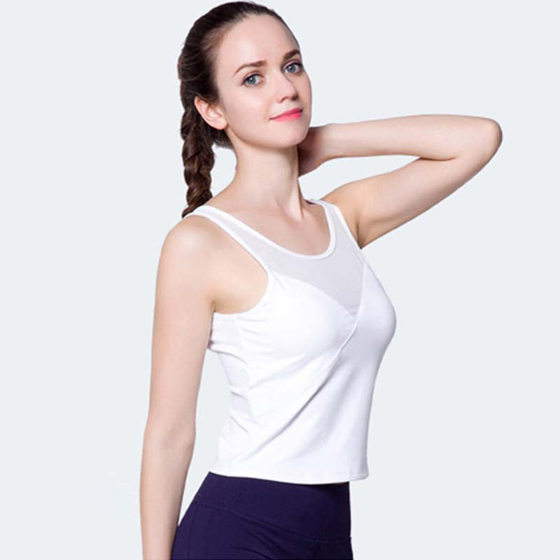 Mesh Splice Tank Top With Padded Bras 3 Colors