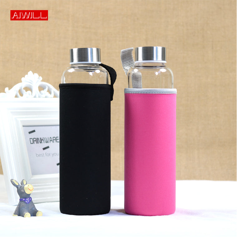 Glass Sport Water Bottle With Protective Bag 280ml / 360ml / 550ml High Quality
