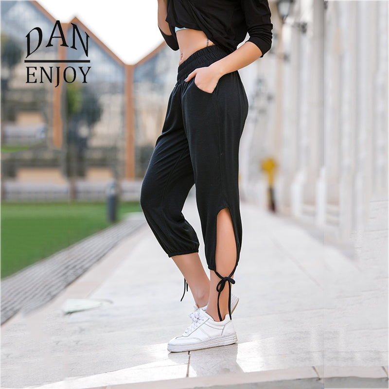 DANENJOY Yoga Pants Bandage Workout Hollow Out Sports Gym Leggings