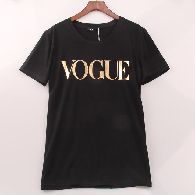 Fashion VOGUE Printed T-shirt Plus Size XS-4XL