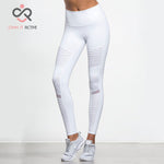 Women Elastic waistband Yoga pants with Mesh Panels in White or Black