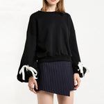 Lantern Sleeve Oversized Black Sweatshirt