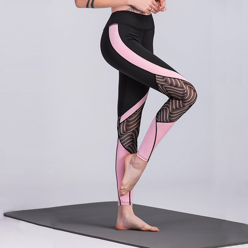 Black/Pink Patchwork Lace Leggings