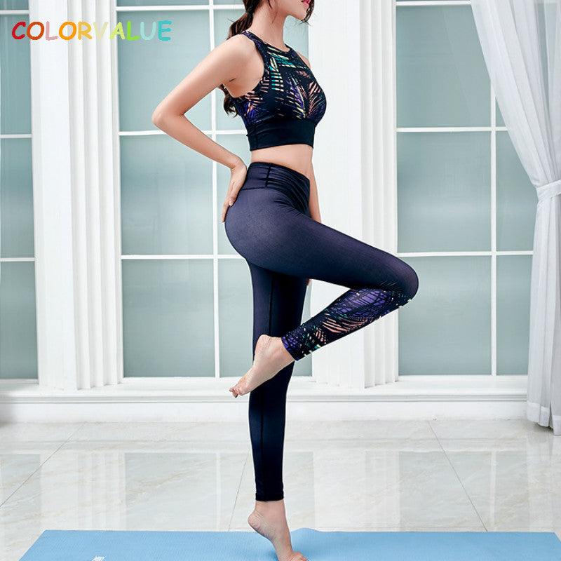 Colorvalue Colorful Leaf Printed Sport Suit  2Pc Yoga Set