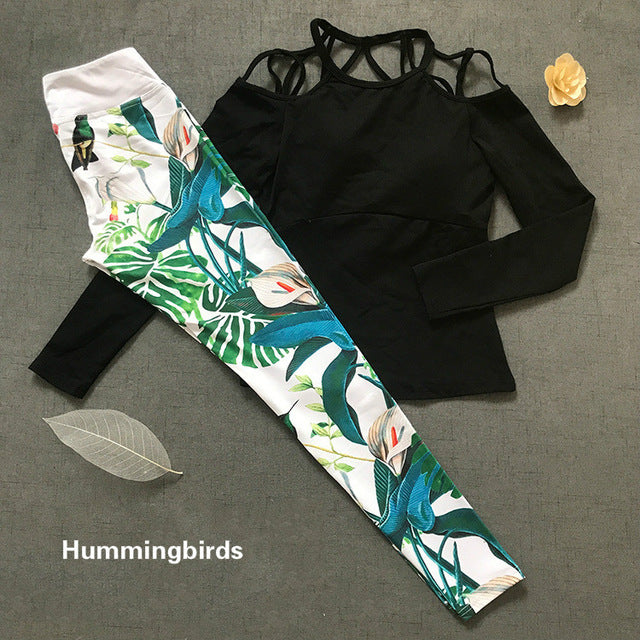 Colorvalue Sexy Printed Women Off-shoulder Sport Set /Hummingbirds