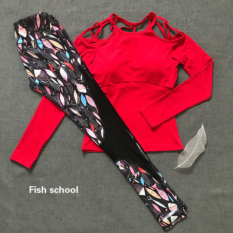 Colorvalue Sexy Printed Women Off-shoulder Sport Set /Fish school