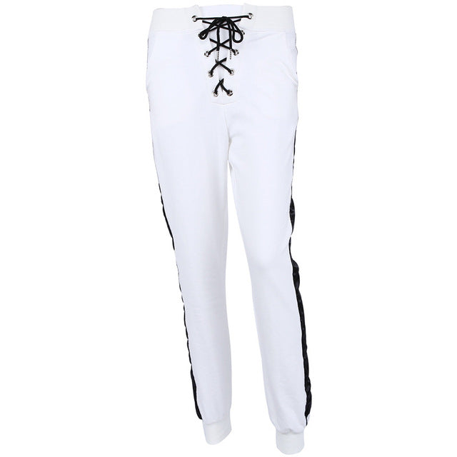New Fashion Waist Drawstring Casual Sporting White Pants