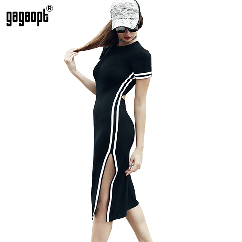 Casual Street Side Split Print Striped Dress