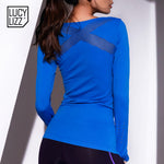 Women Hollow Out Yoga Sports Mesh Long Sleeve Top