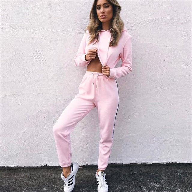 Casual Fitness Two Piece Crop Top and Pant Sportswear Set