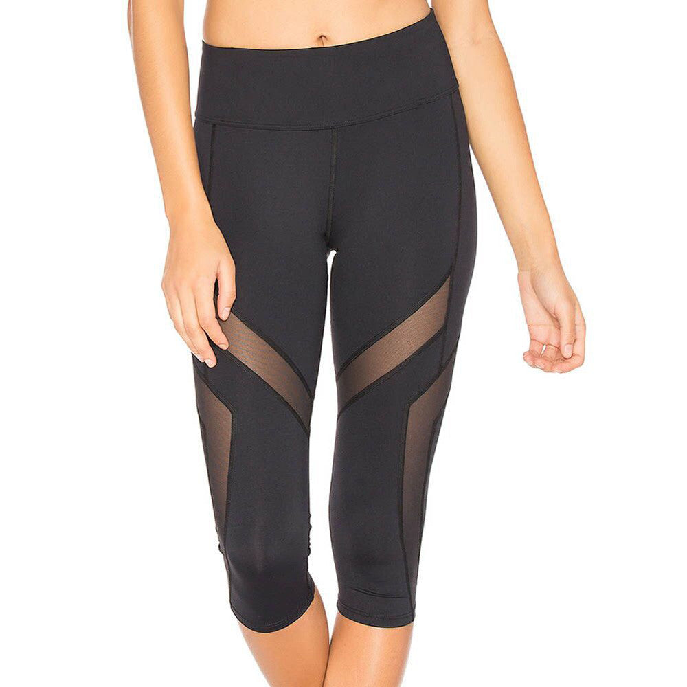 Black Sexy Splice Mesh Fitness Leggings