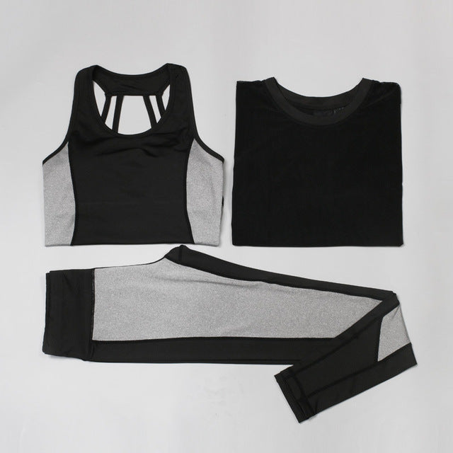 Three-Piece Yoga Women Sports Top+Sexy Yoga Tank Tops+ Pant Set