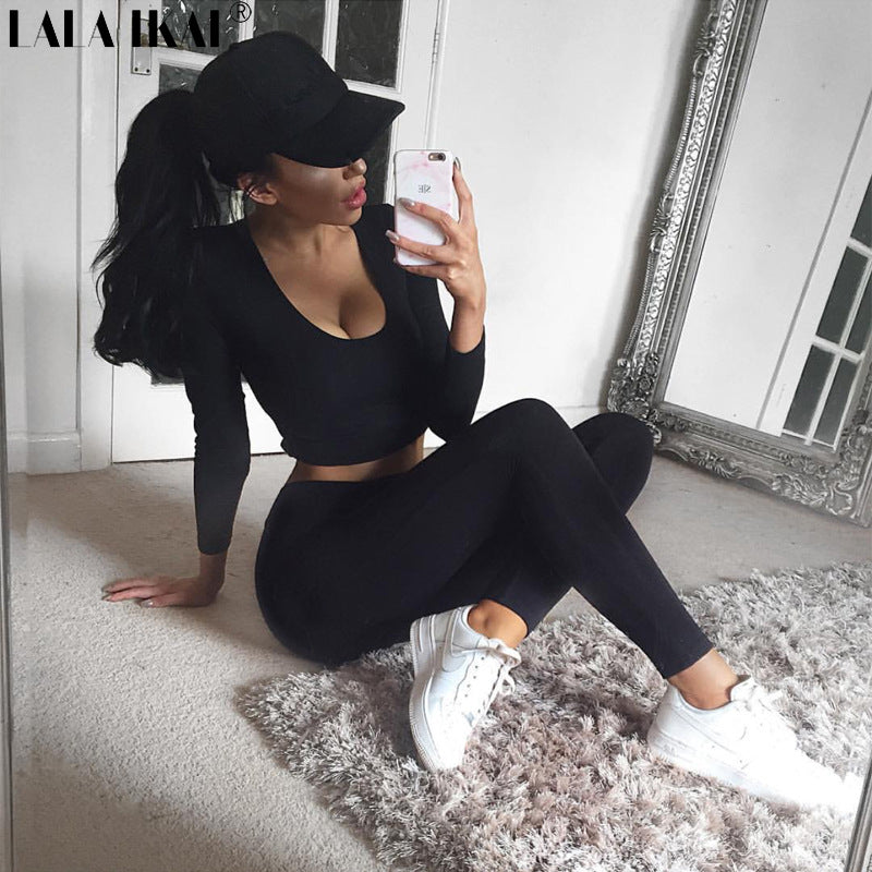 Hoodie Crop Top Fitness Sports Set