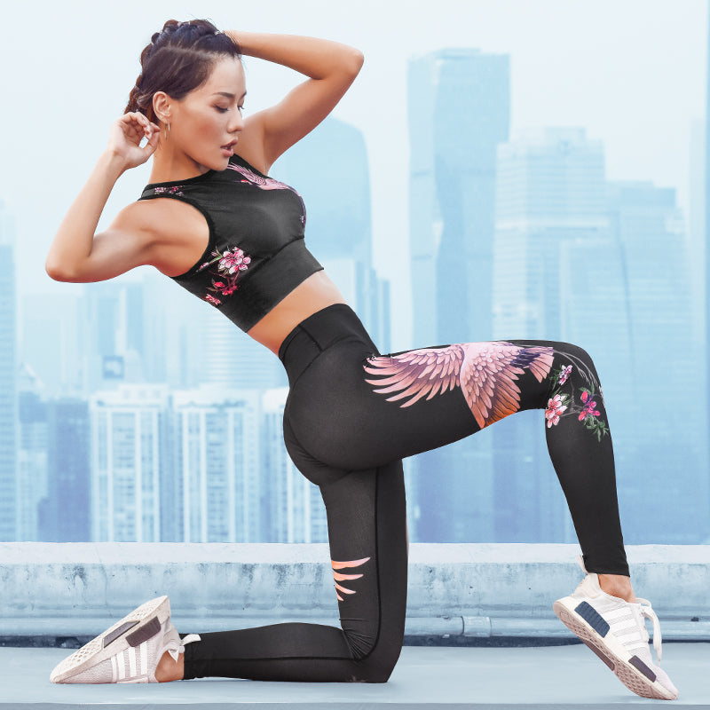 Crane Design 2 Piece Yoga Fitness Sports Set