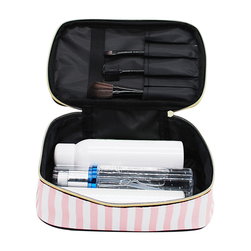 4Pc Pink and Black Transparent Cosmetic Travel Makeup Bag
