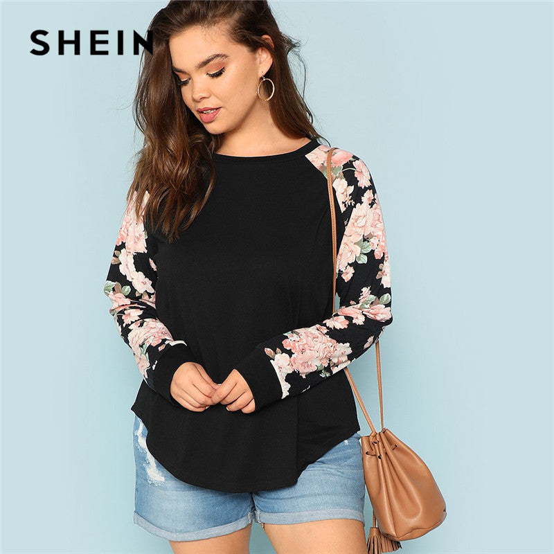 Floral Print Raglan Sleeve Casual Plus Size Black Women's Top