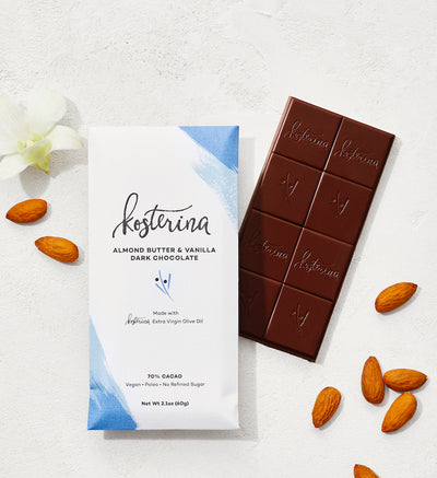 Almond Butter & Vanilla EVOO Dark Chocolate (6 bars)