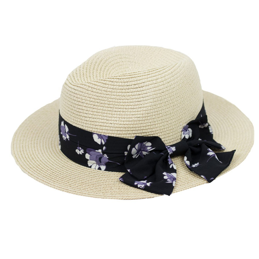 FEDORA - OFF WHITE FEDORA HAT WITH FLORAL RIBBON