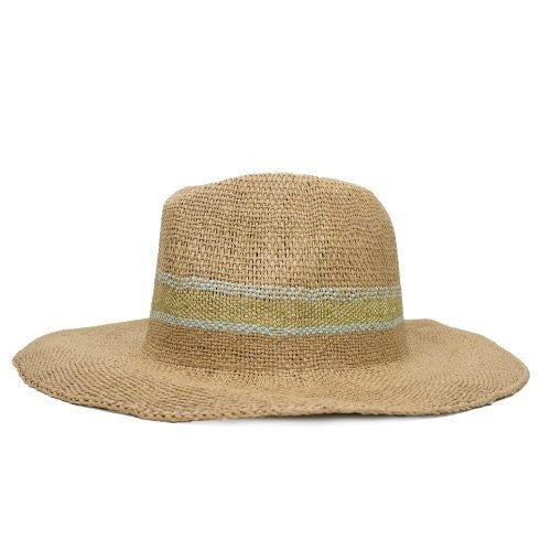 FEDORA - TAN FEDORA HAT WITH MINT WOVEN STRIPE