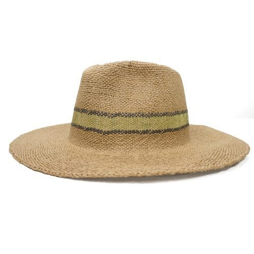 FEDORA - TAN FEDORA WITH GREY WOVEN STRIPE