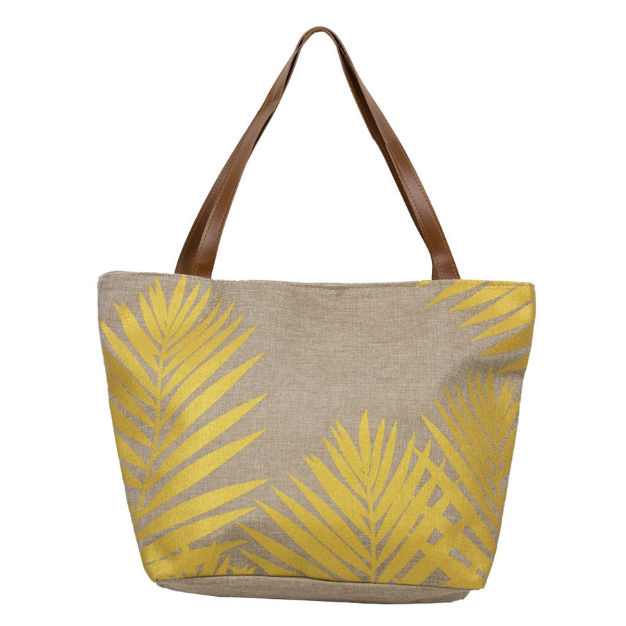 BEACH BAG WITH METALLIC PALM LEAVES